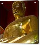 Red Roofed Hall With Ornaments And A Tall Golden Buddha Statue Acrylic Print