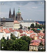 Red Rooftops Of Prague Acrylic Print by Linda Woods