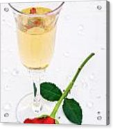Red Rose And A Glass Of Champagne Acrylic Print