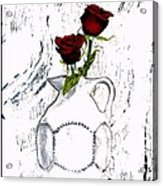 Red Roses With Green Leaves Acrylic Print