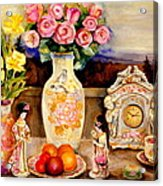 Red Roses Yellow Daffodils In Hand Painted Oriental Antique Vases With Fruit Plate Doves And Angels Acrylic Print