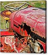 Red Rusty Beach Tractor Acrylic Print
