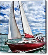 Red Sailboat Green Sea Blue Sky Acrylic Print