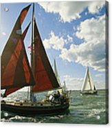 Red-sailed Sailboat And Others Acrylic Print