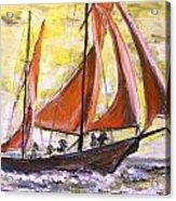Red Sailing Boat  Acrylic Print