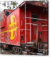 Red Sante Fe Caboose Train . 7d10332 Acrylic Print by Wingsdomain Art and Photography