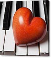 Red Stone Heart On Piano Keys Acrylic Print