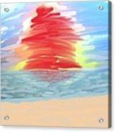 Red Sun Setting Acrylic Print by Heidi Smith