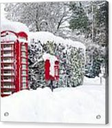 Red Telephone And Post Box In The Snow Acrylic Print