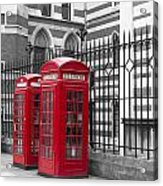 Red Telephone Boxes Acrylic Print