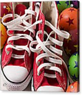 Red Tennis Shoes And Balls Acrylic Print