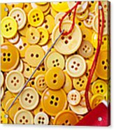 Red Thread And Yellow Buttons Acrylic Print