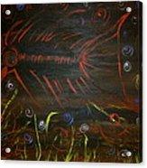 Red Tide Skeleton Fish Acrylic Print