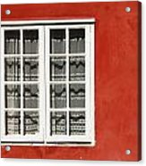 Red Timber House And Window Frame In Acrylic Print