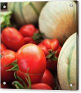 Red Tomatoes And Cantaloupe Melons Acrylic Print