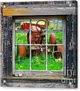 Red Tractor Thru Old Window Acrylic Print