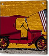 Red Truck Against Yellow Wall Acrylic Print