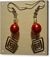 Red Twisted Square Earrings Acrylic Print by Jenna Green