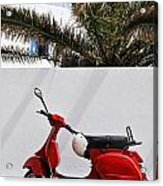 Red Vespa By Wall Acrylic Print