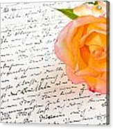 Red Yellow Rose Over A Hand Written Love Letter Acrylic Print