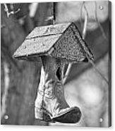 Redneck Cowboy Boot Birdhouse Bw Acrylic Print