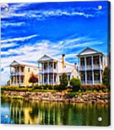 Reflecting On New Town 3 Acrylic Print by Bill Tiepelman