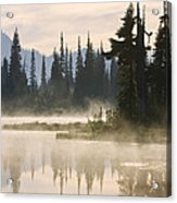Reflection Lake With Mist, Mount Acrylic Print