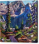 Reflections On A Pond Acrylic Print by David Lloyd Glover