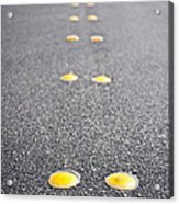 Reflective Roadway Divider Bumps Acrylic Print by Thom Gourley/Flatbread Images, LLC