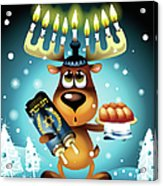 Reindeer With Menorah For Antlers Acrylic Print by New Vision Technologies Inc