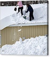 Removing Snow From A Building Acrylic Print
