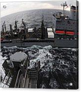 Replenishment At Sea Between Usns Acrylic Print