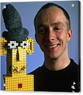 Researcher With His Happy Emotional Lego Robot Acrylic Print