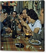 Restaurant Diners Eat Snails, Drink Acrylic Print by Justin Locke