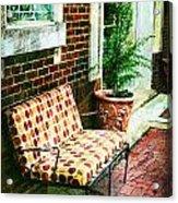 Retro Grunge Sidewalk Bench Seat Acrylic Print