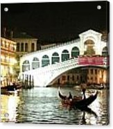Rialto Bridge Night Scene Acrylic Print
