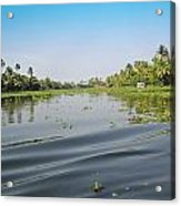 Ripples On The Water Of The Saltwater Lagoon In Alleppey In Kerala In India Acrylic Print