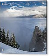 Rising Mists From Crater Lake Panorama Acrylic Print