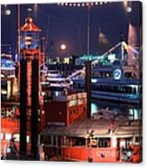 Rising Moon Over Lightship Acrylic Print