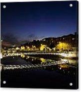 River Liffey, Millenium Footbridge At Acrylic Print by The Irish Image Collection