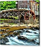 River Rock And A Grist Mill Acrylic Print