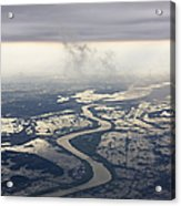 River Running Through A Flooded Countryside Acrylic Print by Jeremy Woodhouse