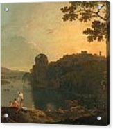 River Scene- Bathers And Cattle Acrylic Print