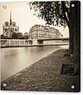 River Seine And Cathedral Notre Dame Acrylic Print