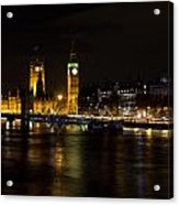 River Thames And Westminster Night View Acrylic Print