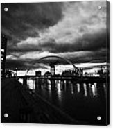 riverside walkway by the Clyde Arc bridge over the river clyde at dusk in Glasgow Scotland UK Acrylic Print