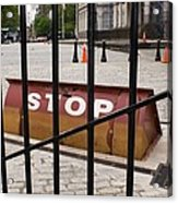 Road Blocker At New York City Hall. Acrylic Print