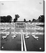 Road Closed And Highway Barrier Due To Flooding Iowa Usa United States Of America Acrylic Print by Joe Fox