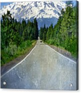 Road Leading To Snow Covered Mount Shasta Acrylic Print