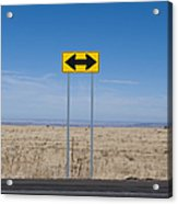 Road Sign In The Desert Acrylic Print